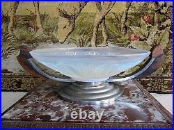 Ancienne coupe art déco centre de table bois métal et verre opalescent