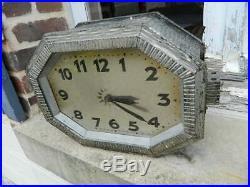 Ancienne grande Horloge pendule type de gare à potence DOUBLE FACE Art Déco