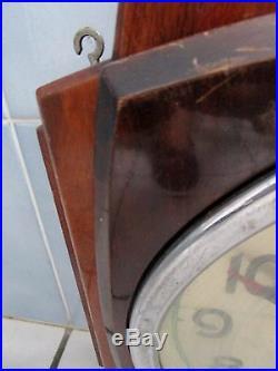 Ancienne grande pendule mécanique murale-Jaz-8 days-art déco de collectivité