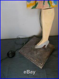Ancienne lampe lampadaire statue femme art deco 1950 sculpture bois vintage lamp