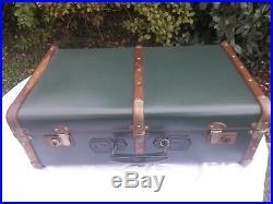 Ancienne malle valise de voyage Art Déco bois coffre de rangement déco Vert Clé