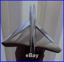 Ancienne mascotte automobile avion art déco en métal chromé socle en bois