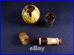 Ancienne rare cousette bois et métal Art Déco années 20/30 Germany couture dé