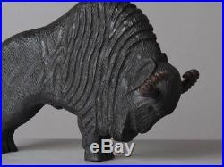 Ancienne sculpture bois bison Art deco 1930