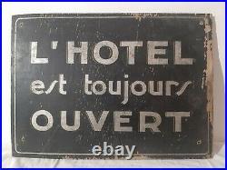 Ancienne superbe Plaque Publicitaire Bois Début Xx Ème Hotel Peinte art déco