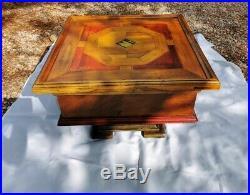 Ancienne table basse bar en bois avec plateau coulissant art déco 60cm x 40cm