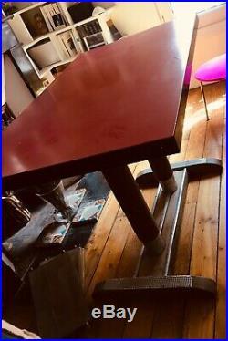 Ancienne table bistrot formica bois vintage années 40 50 art deco