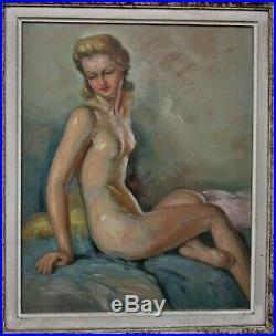 André AdvierTableau nu de femme huile sur panneau encadrement bois d'origine