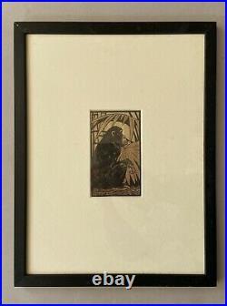André Margat, Bois gravé. Le Chimpanzé. Singe. Gravure