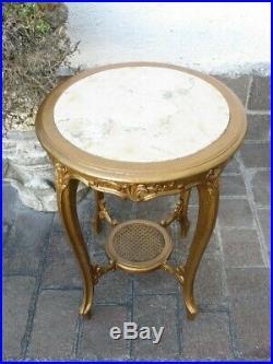 Antique Table Petite Table Français Bois D'or avec Étage Marbre Début Xx Seconde