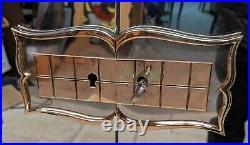 Armoire Art Déco en bois patiné noir années 30-40 meuble penderie étagère