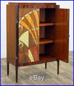 Armoire De Style Art Deco Etageres En Bois Marqueterie Palissandre