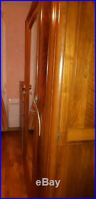 Armoire ancienne en bois art deco rétro vintage étagère 3 portes + miroir