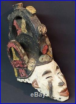 Art Africain masque casque à cadran ancien Ibo Nigéria 28cm esthétique très déco