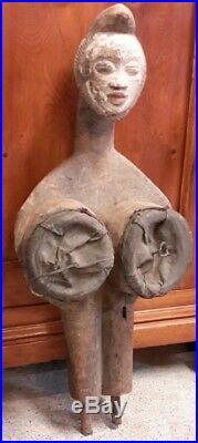 Art africain soufflet de forge fang gabon cuir souple H 66 cm 1980 outil déco