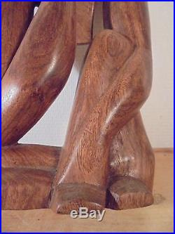 Art déco 1930 Sculpture Bois Moderniste Anthropomorphe DLG Moore Matisse Noll