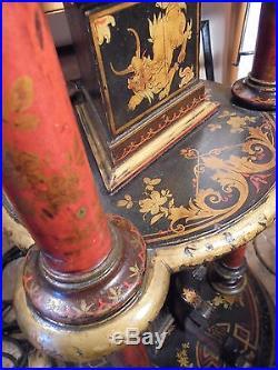 Arts Décoratifs Français XIXème Sellette bois laqué dans le goût Chine Ancien