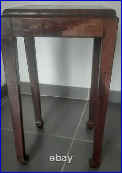 Atelier Martine tabouret guéridon en bois rouge(teck). Art deco stool red wood