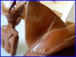 BALI 2 STATUES BALINAISES COUPLE SCULPTURE BOIS DE SANTAL DEBUT XXe ART DECO