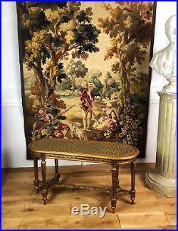 Banc Canné Ancien D'époque Napoléon 3 En Bois Doré Et Sculpté De Style Louis XVI