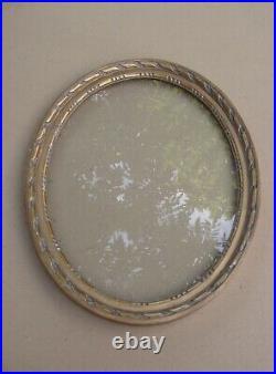 Beau cadre ovale ancien en bois sculpté doré Art déco 1920