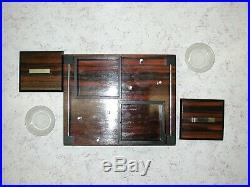 Beau nécessaire de fumeur Art Déco moderniste en palissandre et bois noirci