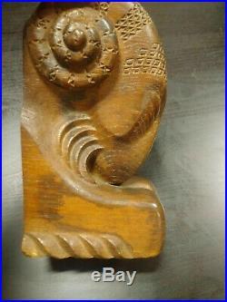 Belier Art Déco superbe sculpture bois serre-livres décor géometrique
