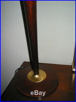 Belle lampe art déco MAZDA ACAJOU ET LAITON bois massif en parfait état. Dépoqu