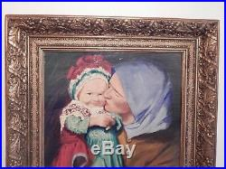 Belle peinture mère et son enfant sur bois signé R Delbecq/art/collection/déco