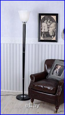 Bois Lampe Art Déco Mazda Lampadaire Classique 1930 à Pied Verre
