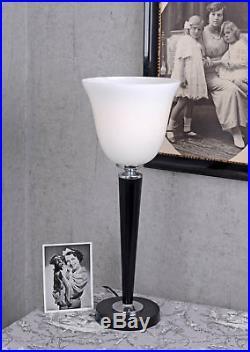 Bois Mazda Lampe noire Lampe de Table Art Déco 62cm verre abat-jour neuf lumière