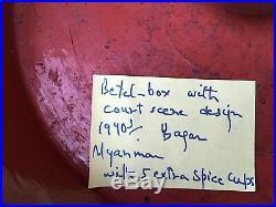 Boite Bois Laque A Betel Birmanie Myanmar Wood Lacquered Betel Box