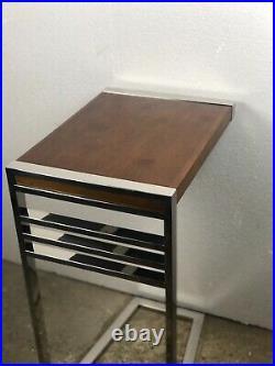 Bout de canapé / table d'appoint / chevet Austin en bois et métal chromé