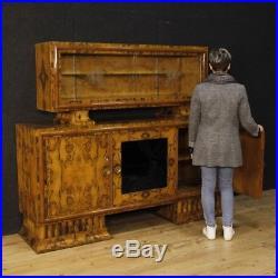 Buffet double corps italien Art Déco style ancien bois ronce noyer salon 900