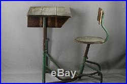 Bureau D' Ecolier Et Chaise En Un Bloc Vintage Reglable En Hauteur Fer Et Bois