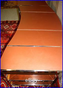 Bureau en bois et inox avec dessus cuir de style Art Déco