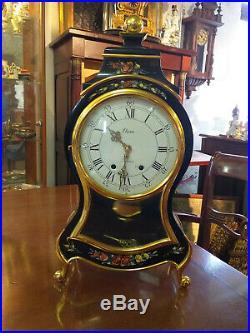 CARTEL ancien bois laiton cadran émaillé style Napoléon III pendule à poser