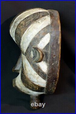 C Art Africain Masque ancien luba congo rondeur dualité des couleurs 33cm déco