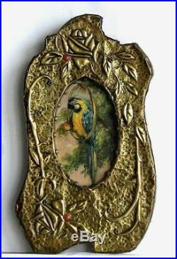 Cadre Ancien Art Deco Bois Et Cuivre Peinture Huile Perroquet