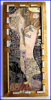 Cadre Ancien Bois Dore Art Deco Peinture Huile/toile Repro Klimt (feuille Or)