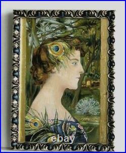 Cadre Art Deco Bois Argente Peinture Huile Portrait Femme Feuille D'or