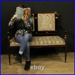 Canapé Art Deco meuble français salon fauteuils en bois acajou tissu 900