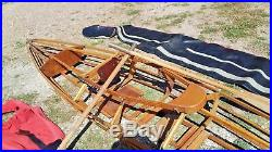 Canoë Kayak démontable en bois vers 1950