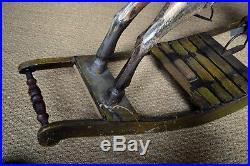 Cheval a bascule bois peinture polychrome très ancien cuir & acier rarissime