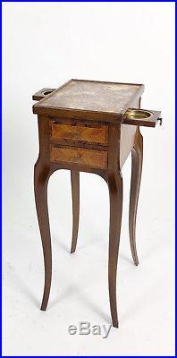 Chevet De Fumeur En Bois De Marqueterie De Style Louis XV Avec Dessus Marbre