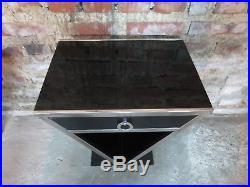 Chevet / table style Art Déco en bois noir et chrome