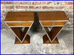Chevet / table style Art Déco en bois teinte noyer et chrome