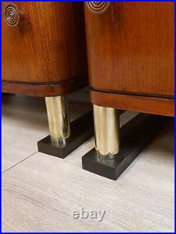 Chevets Art Deco En Bois De Noyer, Chêne Et Laiton, Epoche 1930-40