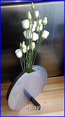 Chic Vase Soliflore Moderniste En Aluminium Et Bois, Art Déco