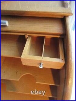 Classeur à courrier à volet roulant, meuble de bureau en bois, Art Déco Nouveau